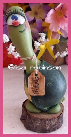hand painted TURTLE gourd hp wood slice tag SPRING prim chick HAFAIR ofg teamhaha lisa robinson