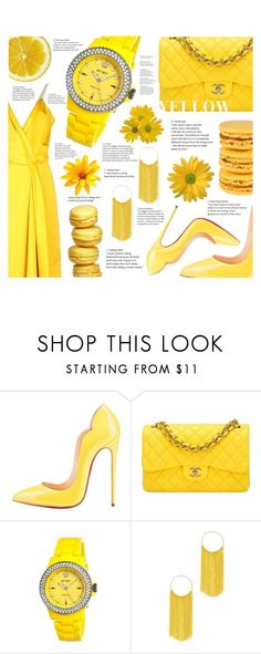 """""""Yellow As The Sun"""" by lineenevoldsen ❤ liked on Polyvore featuring Christian Louboutin, Chanel, Jet Set, New York & Company and Victoria Beckham"""