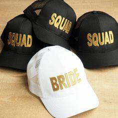 White Bride Baseball Cap   Metallic Gold Detail