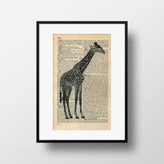 Giraffe Dictionary Art  Art print on by FramedBooksArt on Etsy