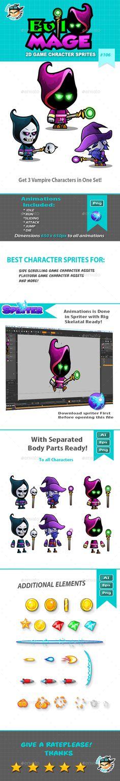 Evil Mage 2D Game Character Sprites (Sprites)
