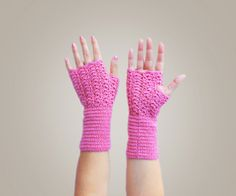 Winter Mittens - Crochet Fingerless Gloves - Dusty pink Wrist Warmer - OK6. $19.00, via Etsy.