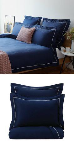 Best bed linens for your home Satin Bedding, Linen Bedding, Natural Bedroom, Blue Palette, Cool Beds, Soft Blankets, Blue Satin, Midnight Blue, Sweet Home