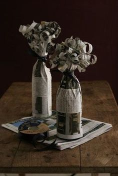 Gift wrapping idea. Curled newspaper