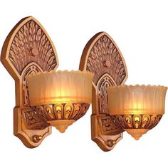 Pair of 1920s Slip Shade Sconces with Native American Influences 1