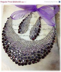 Bridal jewelry set , OOAK  bib necklace earrings , Modern Contemporary purple rhinestone necklace statement, crystal jewelry set