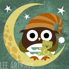 Retro Owl with Teddy Bear by Nancy Lee