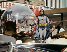 Batman (Adam West) and Batcopter, from the 1966 Batman movie.