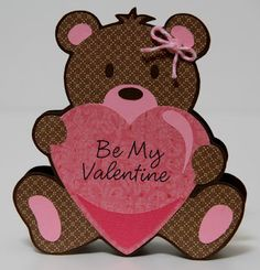 This is my second card using a cartridge from the Cricut Craft Room exclusive line. I purchased their Valentine's Sentiments cartridge onli. Valentines Day Bears, Kinder Valentines, Homemade Valentines, Valentine Crafts, Valentine Day Cards, Holiday Crafts, Fall Crafts, Diy Crafts, Cricut Birthday Cards