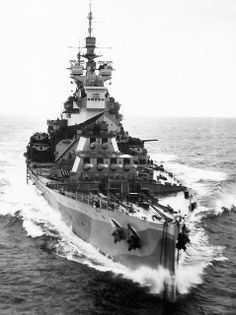 HMS Howe, 14 in King George V class battleship, built to Washington Treaty limits. Sisters HMS Prince of Wales (participant in the Bismarck saga and sunk by the Japanese in 1941) and HMS Duke of York (victor over the German battleship Scharnhorst in 1943) were the best known of the 5 ship class other than Home Fleet flagship 'KGV' herself.