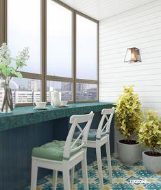 Барная стойка на балконе, кухня с балконом