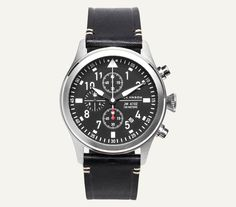 The Aviator Chronograph Watch is inspired by the instrument gauges of an aircraft. This traditional Aviator dial features Super Luminova markings for easy reading during the day or night. The 42mm cas