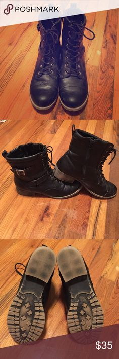 Jellypop Black Combat Boots Jellypop brand black combat style boots. Maybe worn 3 or 4 times gently. Zip up inner sides and lace up front. Some light scuffs on the toes is the only noticeable wear. Size ladies 10. Jellypop Shoes Combat & Moto Boots