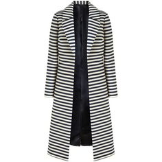 Bruce by Bruce Oldfield Long Stripe Coat, Navy/White ($285) ❤ liked on Polyvore featuring outerwear, coats, long coat, striped coat, white coat, cotton coat and navy blue long coat