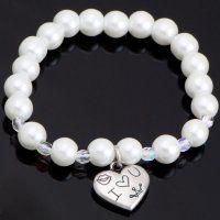 NRB0032 Náramok s perličkami a srdiečkom Swarovski, Pearls, Bracelets, Jewelry, Bangle Bracelets, Jewlery, Beads, Schmuck, Beading