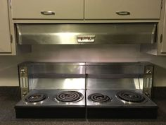 Flip down stove tops From a 50s Ranch with original appliances.  Frigidaire I think.  Another idea that should be revisited with induction tech