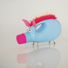 Ms. Hog Bottlecap Lamp from upcycled downy bottle...Clever & Cute! $107..