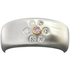 Preowned Suna Brothers Pink And White Diamond Gold Platinum Flower... ($1,080) ❤ liked on Polyvore featuring jewelry, rings, white, gold diamond rings, platinum diamond rings, white diamond ring, platinum band ring and gold band ring