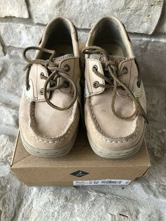 d0d55229180 Kids Boys Sperry Bluefish Linen Oat Tan Size US 2W Shoes Loafers  fashion   clothing