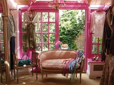 Pink trim. I believe this is Betsey Johnson's apartment?
