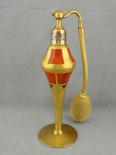 1930'S ART Deco Perfume Bottle Atomiser 22K Gold Decorated Czech Devilbiss