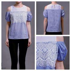 New collection  Renata split shoulder lace top IDR 225,000