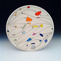 """Decorated Platter, signature design, porcelain, 15"""" diameter. by Free Ceramics."""