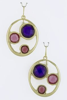 Purple and Pink Gem Earrings - $12 To Order Email PrettyPleaseShoppe@gmail.com