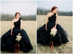 Black Gown for Halloween wedding