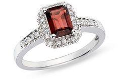 garnet ring- my birthstone Garnet And Diamond Ring, Garnet Rings, Garnet Gemstone, Gemstone Rings, Jewelry Rings, Jewelery, Jewelry Accessories, Garnet Jewelry, Diamond Are A Girls Best Friend