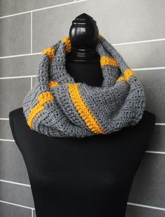 Grey and Gold Infinity Scarf wrap fit by nimwitstudio on Etsy