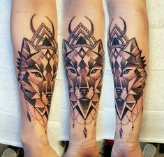 Geometric wolf tattoo, feminine design by Charlie