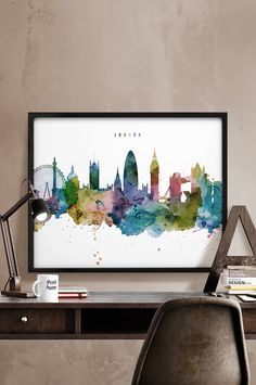 london art print poster London watercolor travel by iPrintPoster