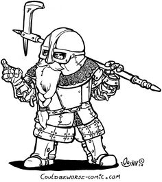 Dwarf in full armour and axe. Chainmail and plate
