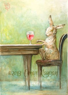 Rabbit with Red - original watercolor painting.    Ck this