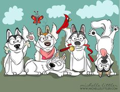 Holly & the Huskies Illustration by Michelle Littler, via Behance