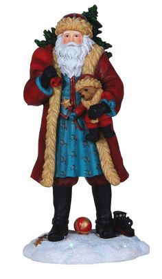 Pipka Santas TEDDY BEAR AND SANTA MPN: 7131202 ARTIST: Pipka CONDITION: New SIZE: 5.6 x 5.5 x 11.5 inches MATERIAL: Resin. Teddy Bears and Christmas go hand in hand. Santa is traveling with a very spe