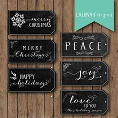 Christmas Gift Tags, Printable Christmas Tag, Chalkboard Gift Tags