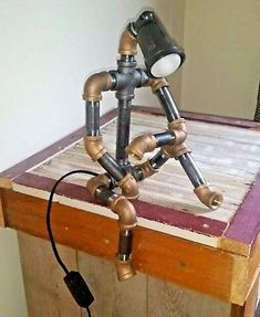 Robot Lamp Steampunk Industrial Pipe Light Man Cave Garage Delivered by Dec 23rd #LampIndustrial
