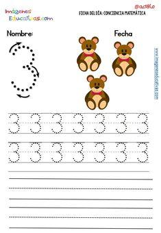 Fichas para trabajar los números (12) Preschool Learning Activities, Kindergarten Math, Preschool Activities, Writing Numbers, Number 3, Kids Education, Worksheets, Homeschool, Maths