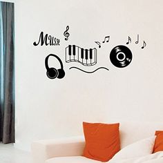$4.59  - LetS Diy Music Sticker Headphones Music Decor Home Decals Musical Notes Removable Wall Stickers >>> You can find out more details at the link of the image. (This is an affiliate link) #WallStickersMurals