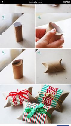 Cute gift wrap ideas for small items. Christmas Stocking Stuffers, Christmas Gift Wrapping, Diy Christmas Gifts, Natal Natural, Recycled Christmas Tree, Easy Crafts, Crafts For Kids, Gift Wraping, Country Christmas Decorations