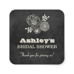 Bridal Shower Favor Stickers | Vintage Chalkboard