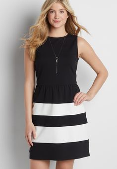 colorblock ponte dress (original price, $44.00) available at #Maurices
