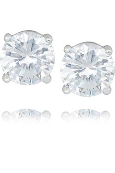 Kenneth Jay Lane – Rhodium-plated cubic zirconia earrings