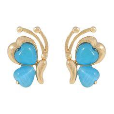 CHIC! Blue Butterfly Stud Clip On Earrings