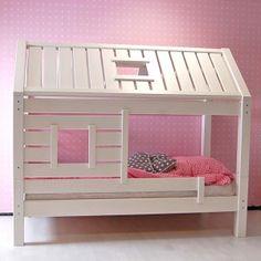 Spielbett PINO, Kinderbett Haus, Massivholz, weiss, umbaubar, 90x200cm