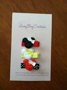 Minnie Mouse Hair Clips @Ashlyn Gilbert Mills can you or Kaylee do felt clips? These are too cute :)