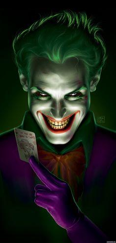 Улыбающийся Джокер с картой между двух пальцев - картинки для аватара