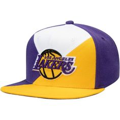 734fae1bdd4aea Men's Los Angeles Lakers Mitchell & Ness Purple/Gold Quadriga Adjustable  Snapback Hat, Your Price: $31.99